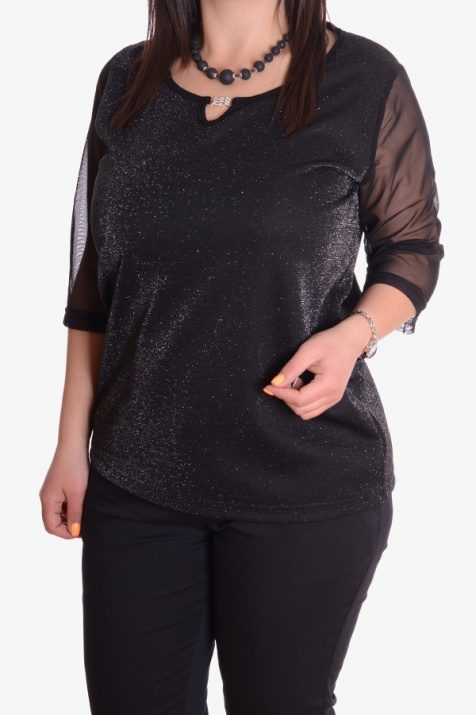 Стилна блуза от страхотен черен плат с ръкави от тюл снимка 1